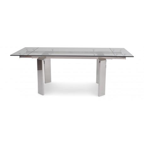Nataly polished steel extendable dining table with glass top
