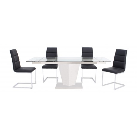 Isabel polished steel extendable dining table with glass top