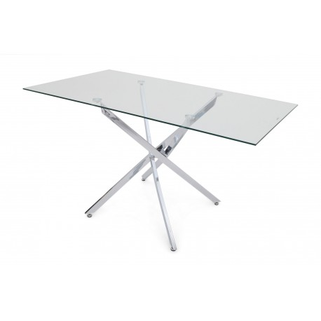 Mona polished steel rectangular dining table with glass top