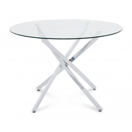 Mona chrome round dining table with glass top