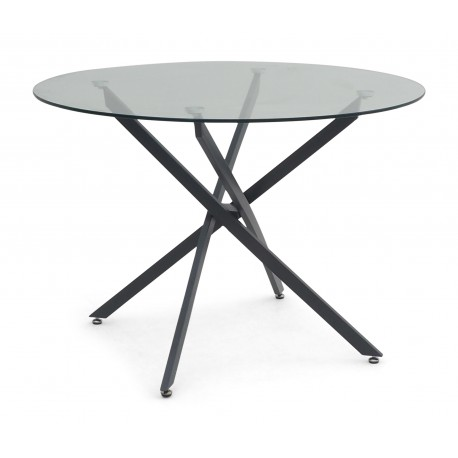 Mona 110cm grey round dining table with glass top