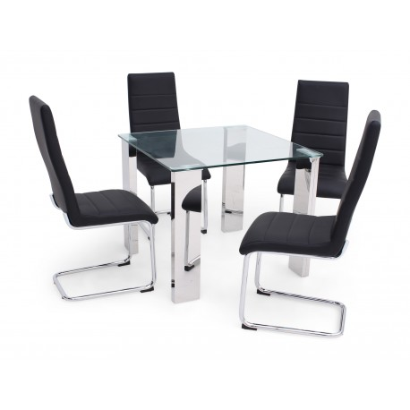 Morgan 90cm dining table with clear glass top