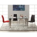 Morgan 140cm dining table with clear glass top