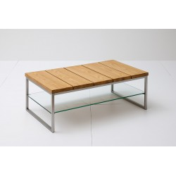 Egon - Oak coffee table with stainless steel legs