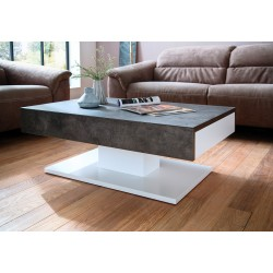 Atena white coffee table with concrete imitation top