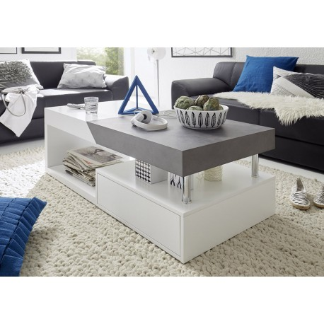 Atena II white coffee table with concrete imitation top