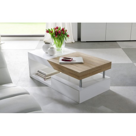 Provo II white coffee table with oak imitation top