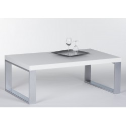 Steel - white gloss coffee table