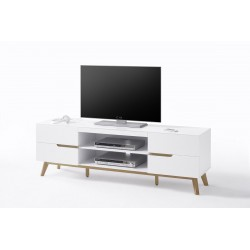 Sparta - matt white TV cabinet with oak frame