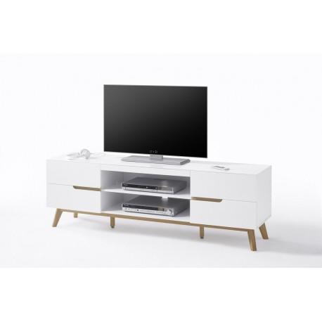Sparta - matt white TV cabinet with oak frame