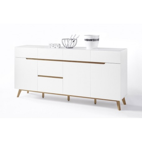 Sparta IV - large sideboard in white and oak finish