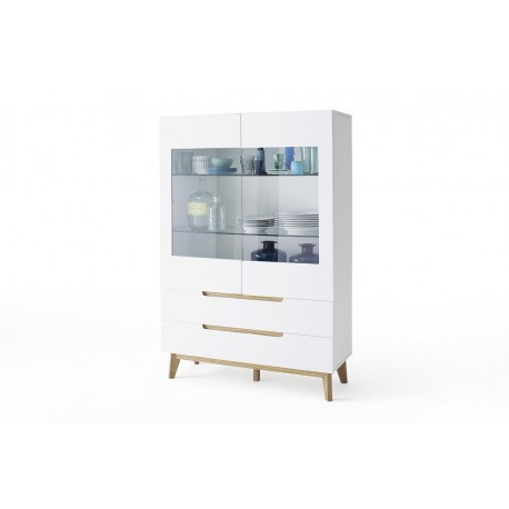 Sparta - display cabinet in white and oak finish