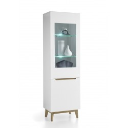 Sparta II - narrow display cabinet in white and oak finish