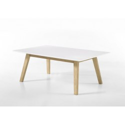 Sparta - white coffee table with oak