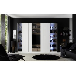 Home matt white and walnut wall unit