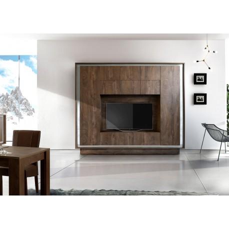 Amber cognac oak finish wall unit