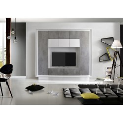 Amber IV white and concrete imitation wall unit