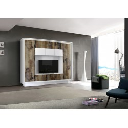 Amber V white and natural wood wall unit