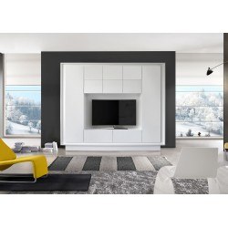 Amber matt white lacquer wall unit