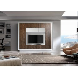 Amber III matt white lacquer and oak finish wall unit