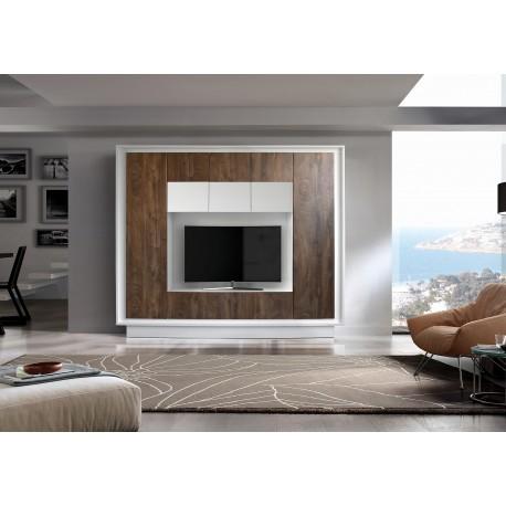 Amber III matt white lacquer and oak finish wall unit