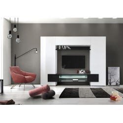 Incastro VII - modern TV wall set in white and black gloss finish