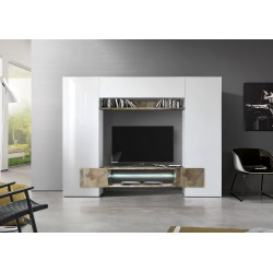 Incastro VIII - modern TV wall set in white and natural wood effect