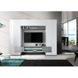 Incastro IX - modern TV wall set in white and concrete effect