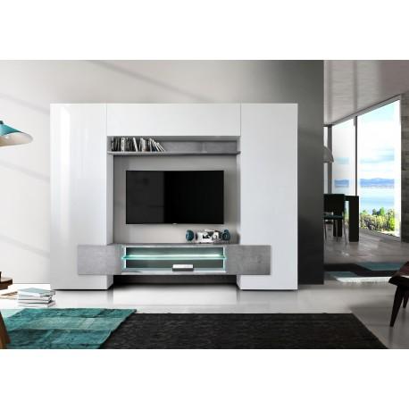 Incastro IX - modern TV wall set in white and concrete effect
