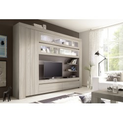 Palmira - modern TV wall set in rose beige wood finish with LED