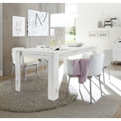 Parma-white oak dining table with steel legs