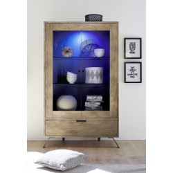 Parma-canyon oak wide display cabinet with lights