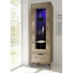 Parma-canyon oak narrow display cabinet with lights