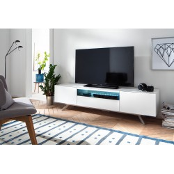 Alexia matt white lacquered TV unit with steel legs