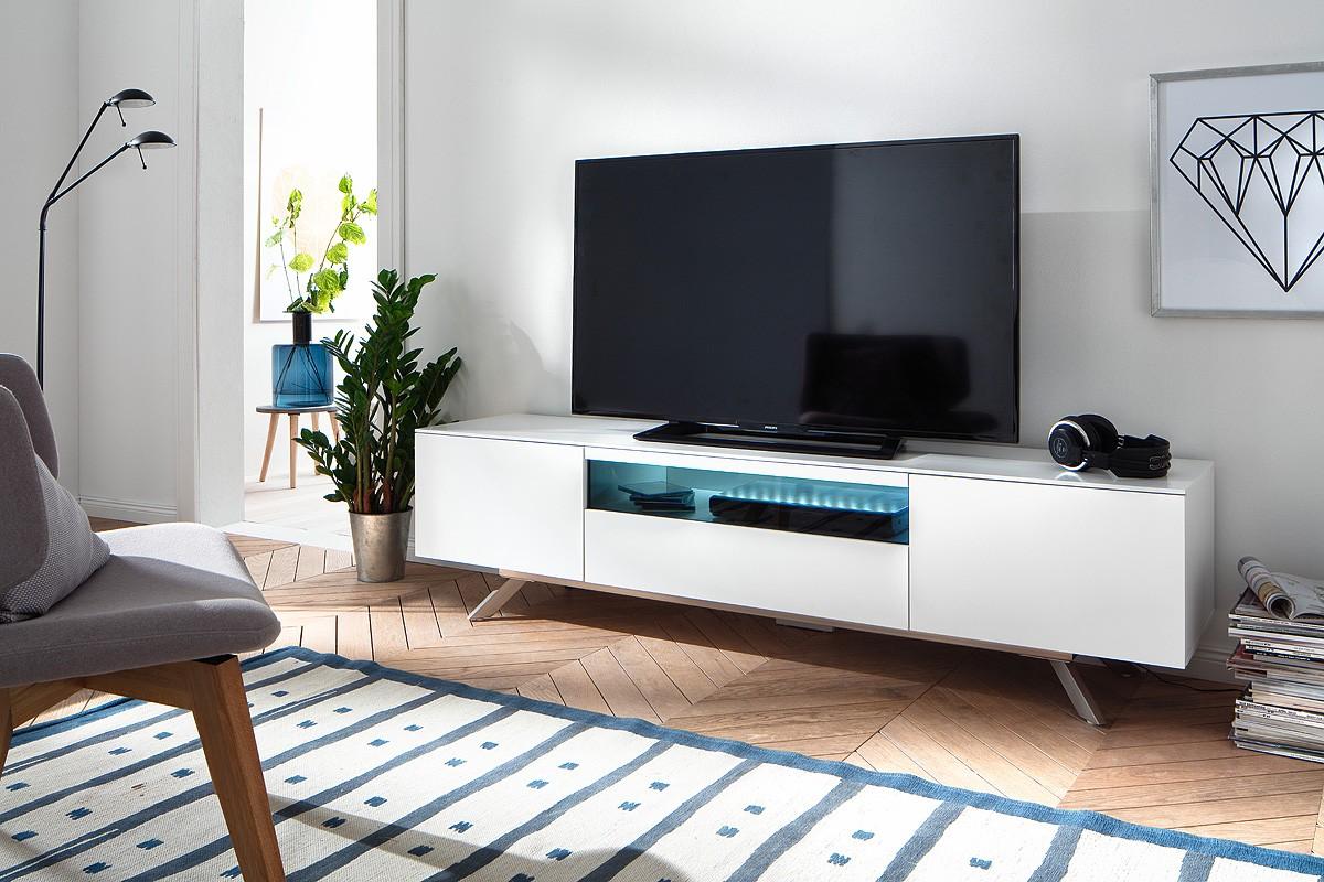 Alexia Matt White Lacquered Tv Unit With Steel Legs Tv Stands  # Meuble Tv Ovio