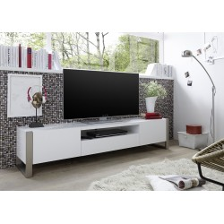 Alexia II matt white lacquered TV unit with steel legs