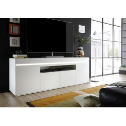Elvia matt white lacquered TV unit with LED lights