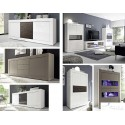 Dolcevita narrow display cabinet in high gloss white and grey