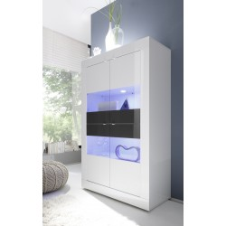 Dolcevita white and grey wide gloss display cabinet