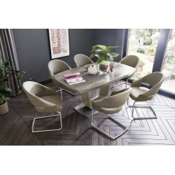 Lena II ceramic taupe top - extendable dining table