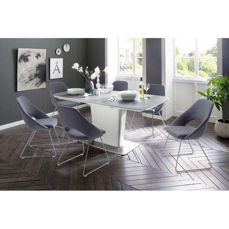 Naomi Ceramic Grey Top Extendable Dining Table Dining