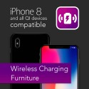Ferro lamp table with wireless phone charger in black finish