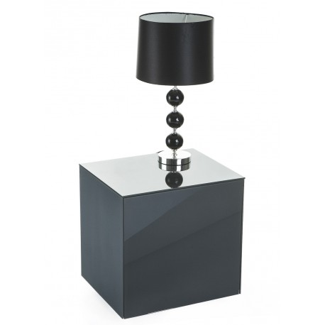 Ferro lamp table with wireless phone charger in grey finish