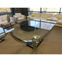 Orbit polished steel dining table with glass top