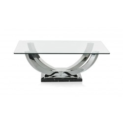 Orbit polished steel coffee table with glass top