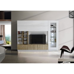 Compact I modern TV wall set in white and honey wood effect