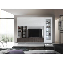 Compact II modern TV wall set in white and wenge wood effect