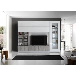 Compact III modern TV wall set in white and grey wood effect