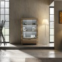 Capri-canyon oak wide display cabinet with lights