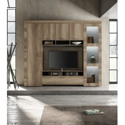 Capri modern TV wall set in canyon oak finish with LED